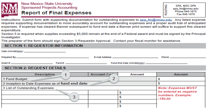 Report of Final Expenses (RFE) form example